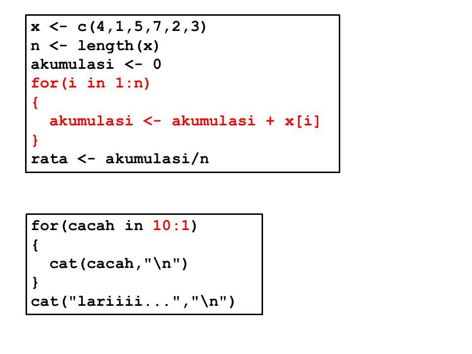 x <- c(4,1,5,7,2,3) n <- length(x) akumulasi <- 0. for(i in 1:n) { akumulasi <- akumulasi + x[i]
